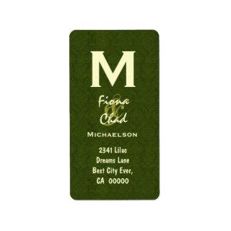 Monograma V566 del verde verde oliva Etiqueta De Dirección