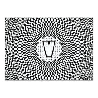 """Monograma V de la ilusión óptica Invitación 5"""" X 7"""""""