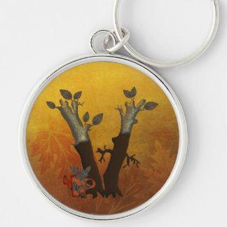 Monograma V del árbol del otoño Llavero Redondo Plateado