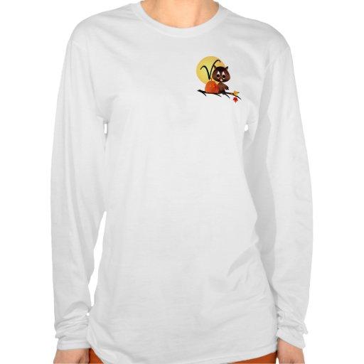 Monograma V del búho del otoño Camisetas