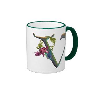 Monograma V del colibrí Tazas