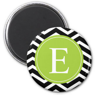 Monograma verde blanco negro de Chevron Imán Redondo 5 Cm