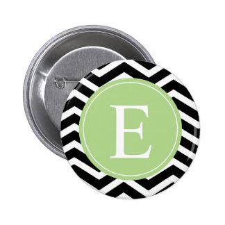 Monograma verde blanco negro de Chevron Pins