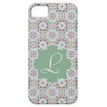 Monograma verde claro con mosaico de azulejo 7 iPhone 5 carcasa
