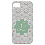 Monograma verde claro con mosaico de azulejo 7 iPhone 5 Case-Mate cobertura
