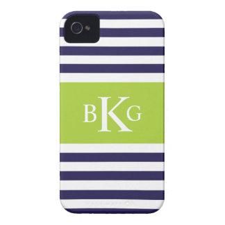 Monograma verde claro de las rayas de la marina de Case-Mate iPhone 4 fundas