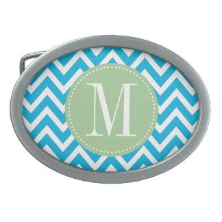 Monograma verde claro y azul del personalizado de  hebilla cinturón oval