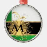 Monograma verde claro y del oro adorno de navidad