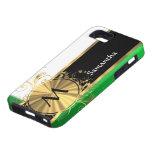 Monograma verde claro y del oro iPhone 5 Case-Mate fundas