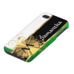 Monograma verde claro y del oro iPhone 4/4S carcasas