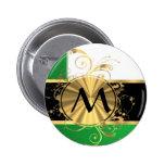 Monograma verde claro y del oro pin