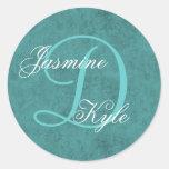 Monograma verde D o cualquier S25 inicial del boda Etiqueta