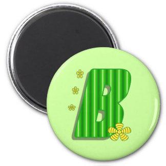 monograma verde de B Imán Redondo 5 Cm