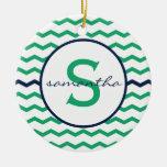 Monograma verde de Chevron Ornamento Para Arbol De Navidad