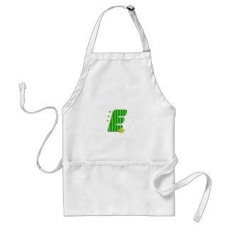 monograma verde de E Delantal