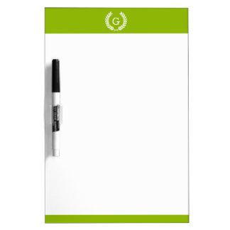 Monograma verde de la inicial de la guirnalda del pizarras blancas de calidad