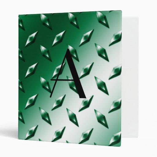 Monograma verde de la placa de acero del diamante