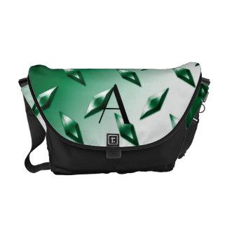 Monograma verde de la placa de acero del diamante bolsa de mensajería