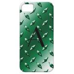 Monograma verde de la placa de acero del diamante funda para iPhone 5 barely there
