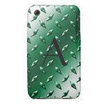 Monograma verde de la placa de acero del diamante Case-Mate iPhone 3 carcasa