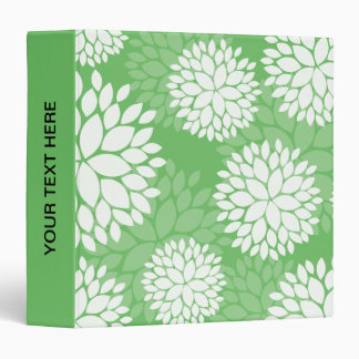 """Monograma verde de las flores blancas carpeta 1 1/2"""""""