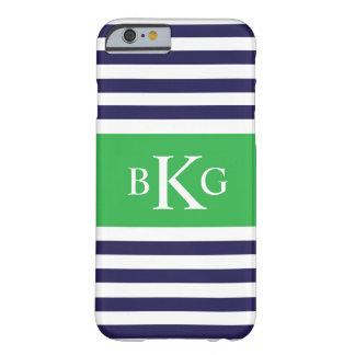 Monograma verde de las rayas de la marina de funda para iPhone 6 barely there