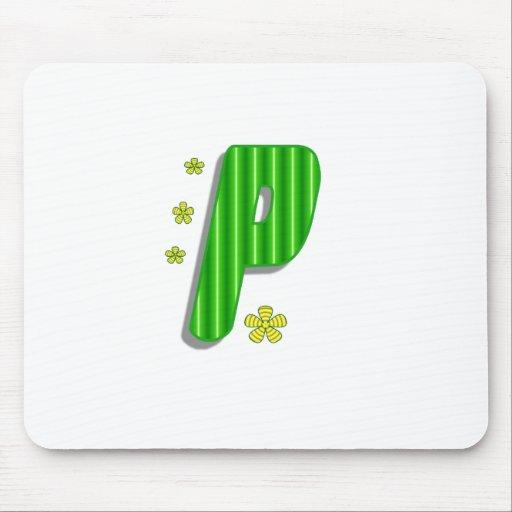 monograma verde de P Mousepad