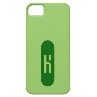 Monograma verde de plantilla personalizada de iPhone 5 carcasa