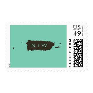 Monograma verde de Puerto Rico del lucite Timbre Postal