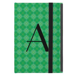 Monograma verde del argyle iPad mini funda