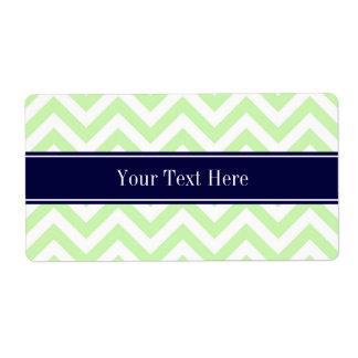 Monograma verde del nombre de los azules marinos etiquetas de envío