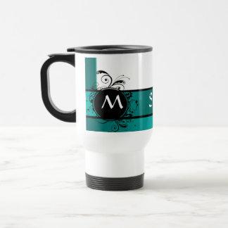 Monograma verde del trullo taza de viaje