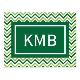 Monograma verde doble de Chevron Postal