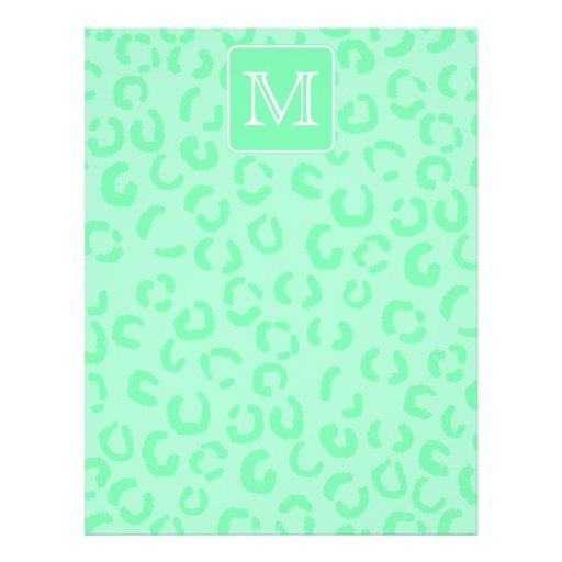 """Monograma verde en colores pastel del personalizad folleto 8.5"""" x 11"""""""