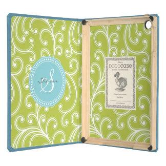 Monograma verde femenino elegante del estampado de