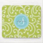 Monograma verde femenino elegante del estampado de tapete de raton