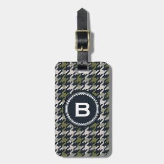 Monograma verde gris de la tela escocesa del etiqueta para maleta