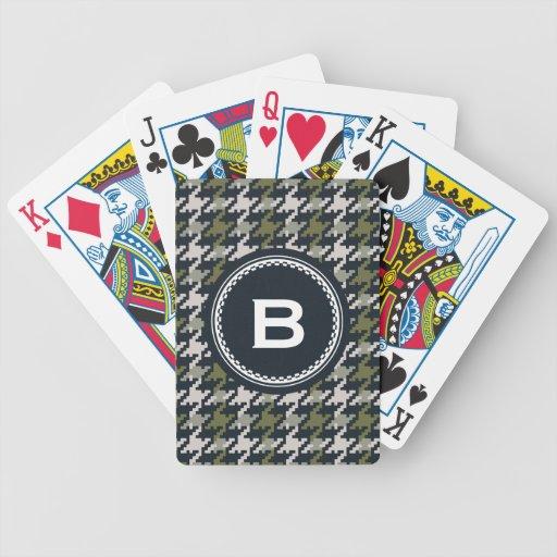 Monograma verde gris de la tela escocesa del hound cartas de juego