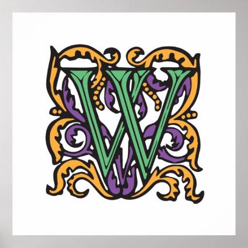 Monograma verde medieval elegante de la letra W Poster