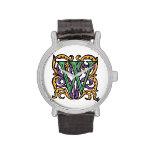 Monograma verde medieval elegante de la letra W Relojes De Mano