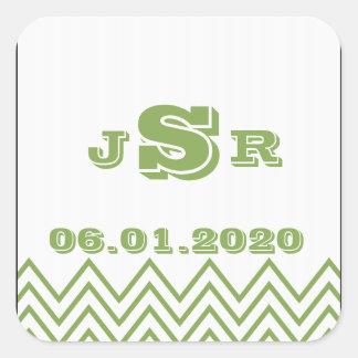 Monograma verde moderno del boda de Chevron Pegatina Cuadrada