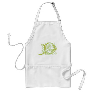 Monograma verde oliva de la letra D del Flourish Delantales