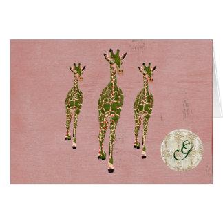 Monograma verde oliva rosado Notecard de las jiraf