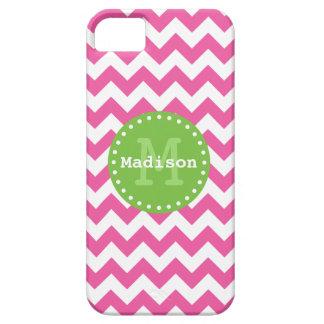 Monograma verde rosado brillante del zigzag de Che iPhone 5 Case-Mate Cárcasa