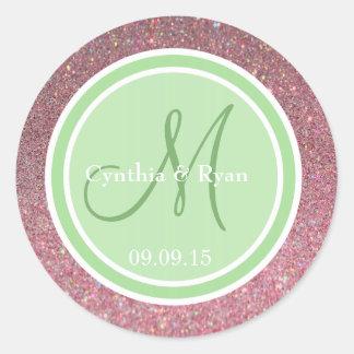 Monograma verde rosado del boda del brillo y de la etiquetas redondas
