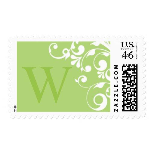 Monograma verde W del franqueo del boda
