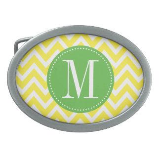 Monograma verde y amarillo del personalizado de Ch Hebillas Cinturon Ovales