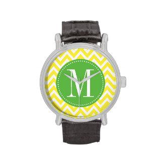Monograma verde y amarillo del personalizado de Ch Reloj