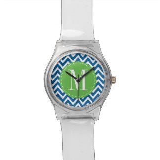 Monograma verde y azul del personalizado de Chevro Relojes