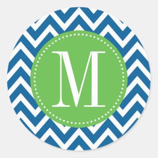 Monograma verde y azul del personalizado de pegatina redonda